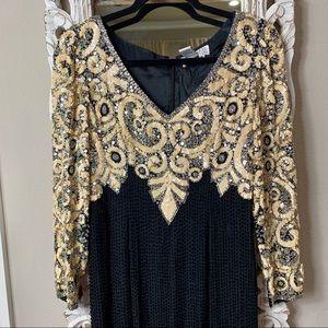 Fully beaded Vintage long-sleeve dress